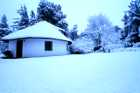 Snow falls in winter at Lothlorien Cottage in Hogsback, South Africa